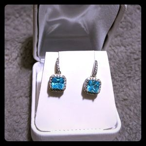 Topaz and cz earrings